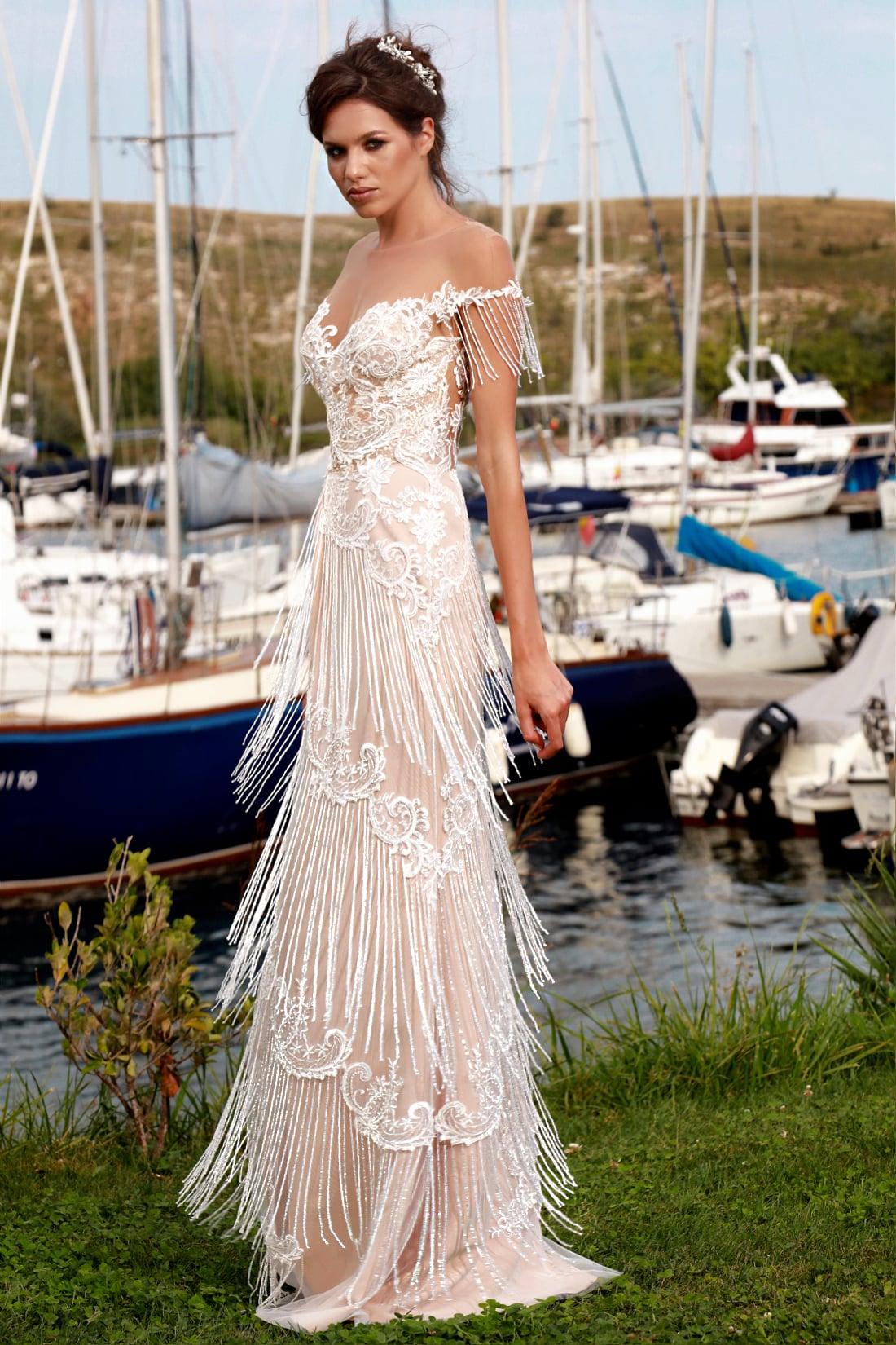 rochie de mireasa franjuri margele rochie de mireasa sirena